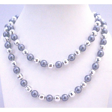 Classy Beads Grey Pearls Necklace Multifaceted Beads Long Necklace