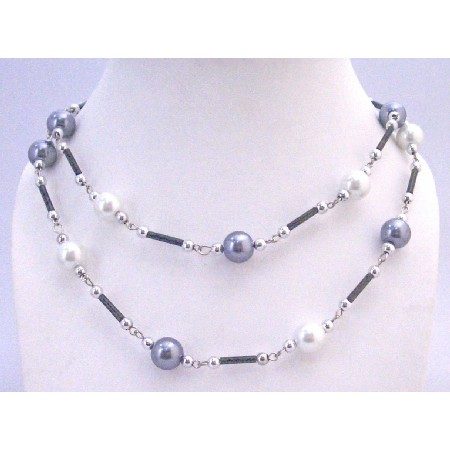 White Grey Pearl Beautiful Long Summer Necklace Fancy Beads 56 Inches