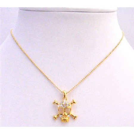Gold SKull Pendant Necklace Pendant Embedded CZ Skull Necklace