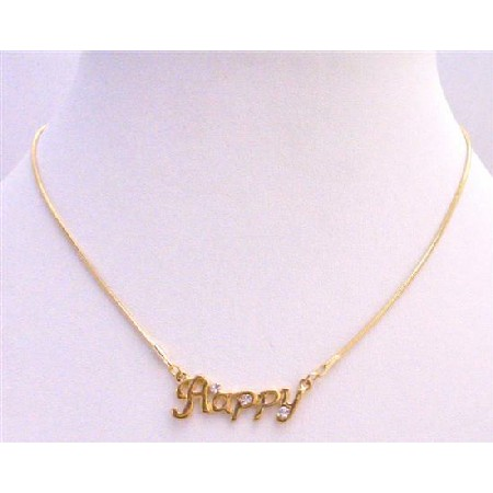 Gold Happy Pendant Decorated w/ Cubic Zircon Gold Chain Necklace