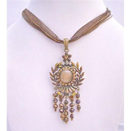 Ethnic Necklace w/ Cat Eye Round Embedded Rhinestones Freshwater Pearl