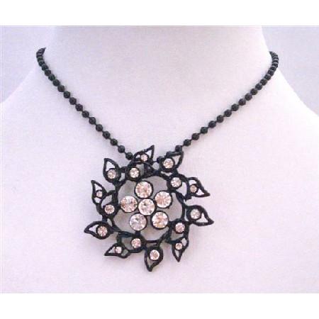 Sun Flower Pendant Summer Long Necklace Black Beaded w/ Rhinestones
