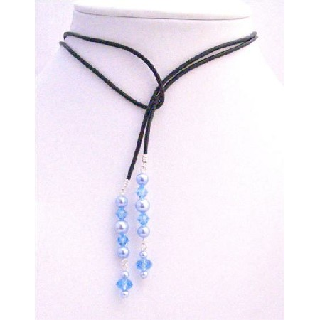 Aquamarine Crystals Lariat Necklace w/ Swarovski Blue Pearl Necklace