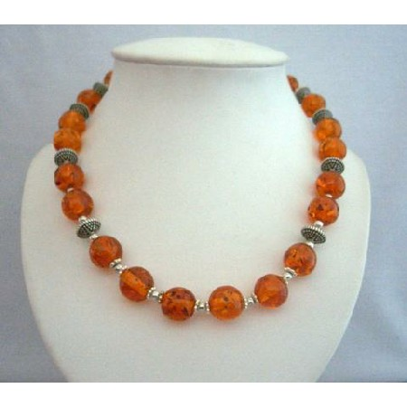 Amber Beads Jewelry Necklace w/ Bali Silver Spacing Round Beads