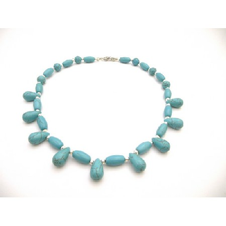 Turquoise Natural Necklaces Handcrafted Turquoise Jewelry w/ Teardrop