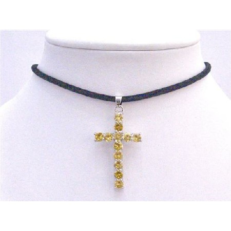 Topaz Crystals Cross Pendant Accented In Leather Cord Necklace