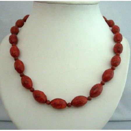Bamboo Coral Red Oval Beads Handcrafted Coral Beads Ethnic Necklace