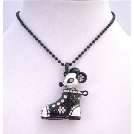 Black & White Boot Pendant Decorated w/ Rhinestones & Mouse Necklace