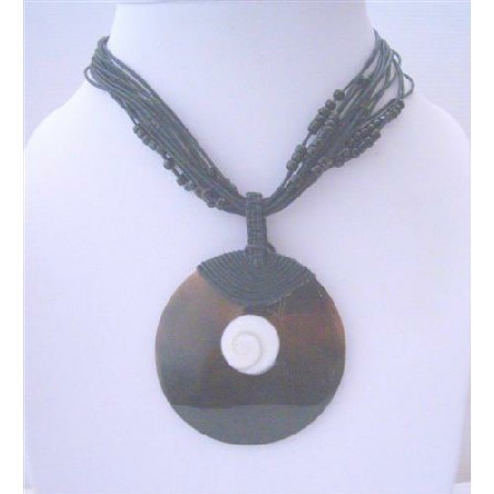 Multi Stranded Black Beaded w/ Shell Round Pendant & Self Designed