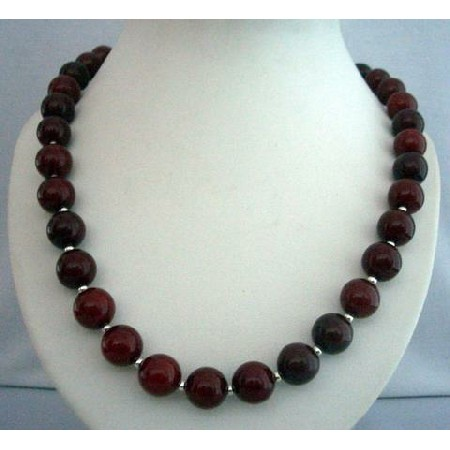 Cherry Amber Stone Beads Handcrafted Silver Beads 30 Inches Necklace