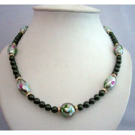 Swaorvksi Green Pearl Hand Painted Rhodium Beads Gold Rondell Necklace