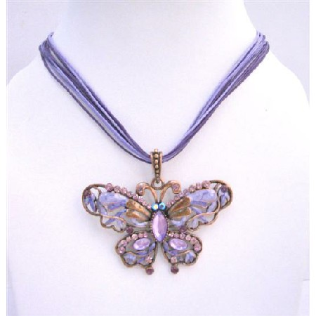 Cool Soothing Purple Color Butterfly Necklace with Swarovski Crystal