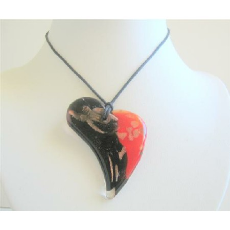 Black & Red Painted Glass Pendant Heart Painted Pendant Necklace
