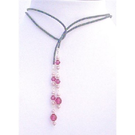 Stylish Swarovski Powder Rose Pearls Fuchsia Crystals Lariat Necklace
