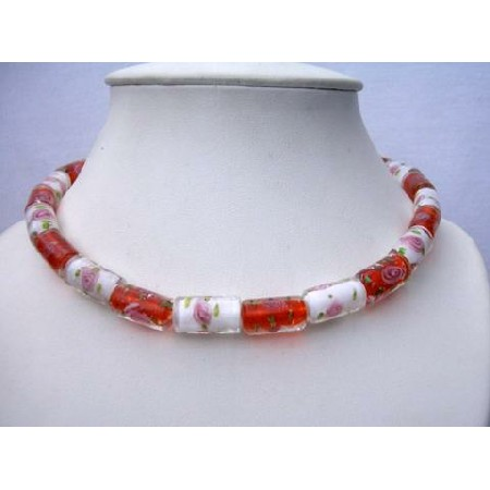 Vintage Cylindrical Painted Glass Bead Necklaces