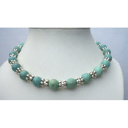 Green Turquoise Necklace Round Beads w/ Bali Silver