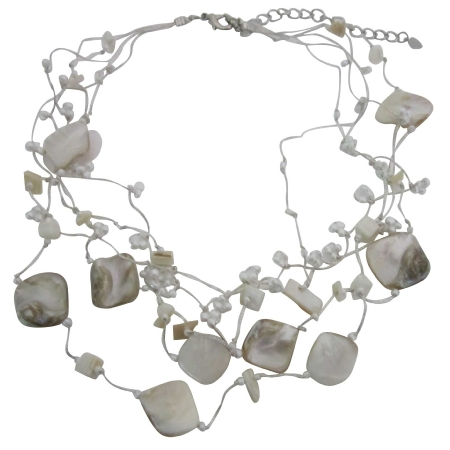 Fancy Beads Shell Accented In Silk Sleek chain Multistrands Necklace