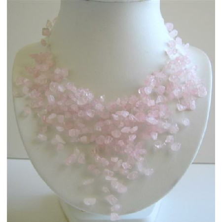 Rose Quartz Tassel Pink Quartz Stone Chip Nuggets Beads Necklace
