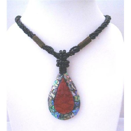Multi Strand Black Beaded Abalone Teardrop Coral Stone Necklace