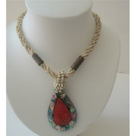 Multi Strand Cream Beaded Abalone Teardrop Coral Stone Necklace