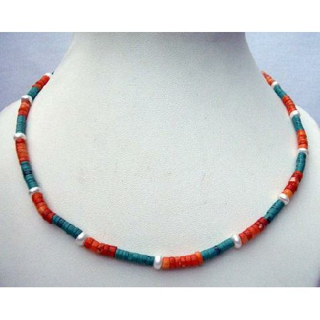 Turquoise Red Coral Ring Bead Necklace Handmade Custom Jewelry