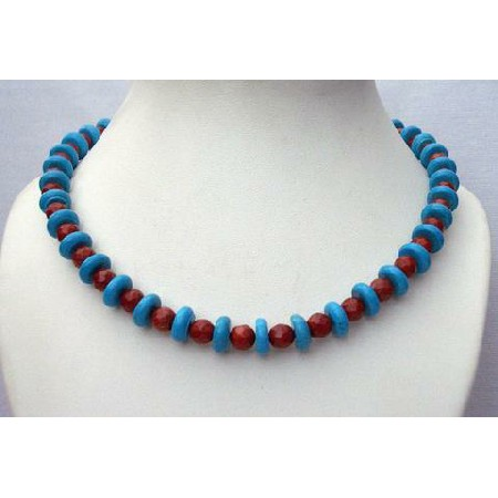 Turquoise Coral Red Necklace Turquoise Faceted coral Red Beads Jewelry