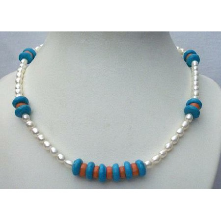 Freshwater Pearls Turquoise Red Coral Beads Sterling Silver Necklace