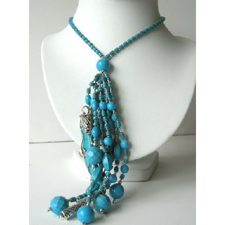 Multi Strand Turquoise Dagger & Beads Sterling Silver Necklace