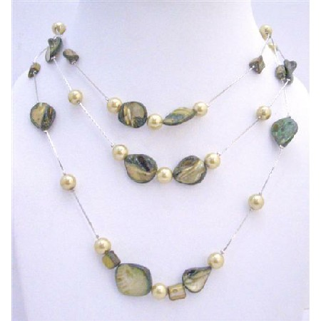 Pistachu Green Shell w/ Green Pearls Gorgeous 3 Stranded Necklace