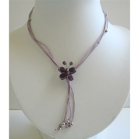 Butterfly Necklace Purple Butterfly w/ Cute Tassel