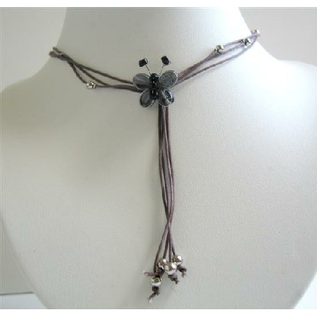 Necklace w/ Multi Strings & Tassel Drop Down Black Butterfly Necklace