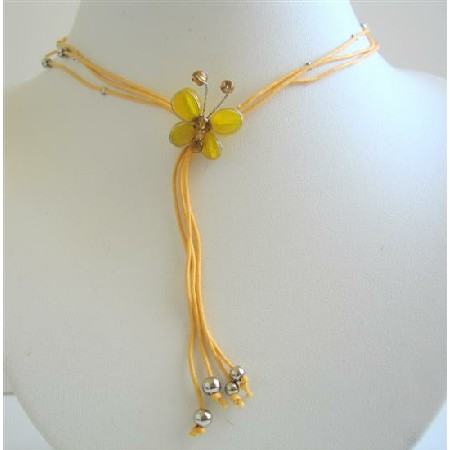 Yellow Leamon Butterfly Necklace w/ Beautiful Tassel Necklace
