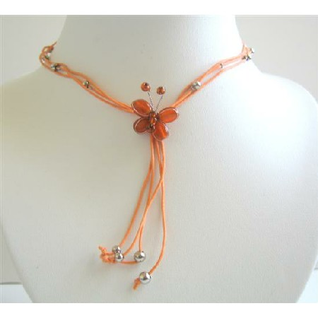 Multistranded Orange Necklace w/ Very Pretty Orange Butterfly Necklace