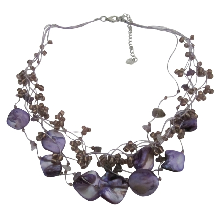Amethyst Nugget Purple Shell Beads Multi String Amethyst Tone Necklace
