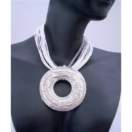 Cool White Necklace w/ White Round Pendant