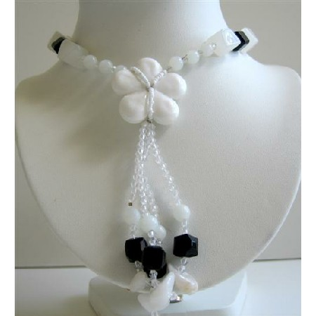 White Flower Glass Pendant Tassel Black & White Beads Long Necklace