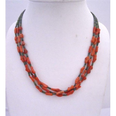 Dark Green Jade Beads w/ Coral Fancy Beads 3 Stranded Coral Necklace