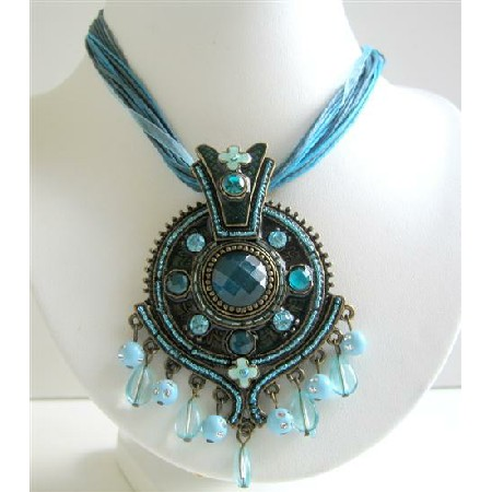 Blue Ethnic Necklace Enamel Flower Pendant Blue Rhinestones Necklace