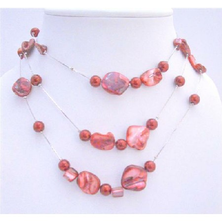 Sexy Red Shell w/ Red Pearls Three Stranded Silver Plated Necklace