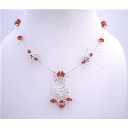 Sterling 925 Multi Round Pendant Red Multifaceted Glass Beads Necklace