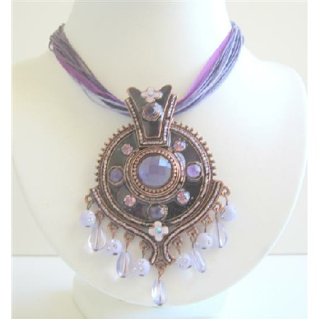 Purple Enamel Ethnic Necklace w/ Beads Dangling Pendant Jewelry
