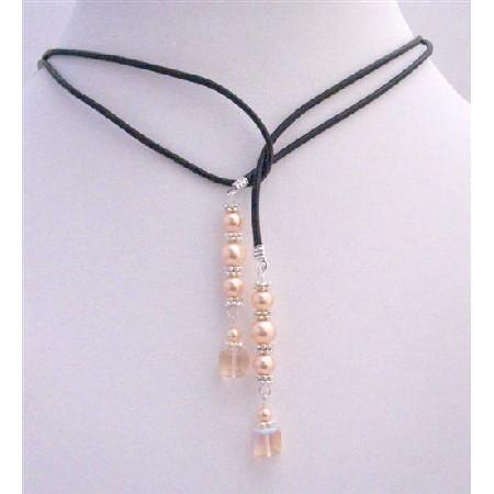 Pearls Lariat Necklace w/ Swarovski Peach Cube Crystals Bali Silver