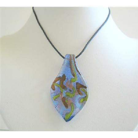 Artisitcally painted glass leaf pendant necklace handcrafted designed mozeypictures Choice Image