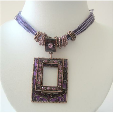 Victorian Multi Strands Purple Necklace Antique Gold Pendant Necklaces
