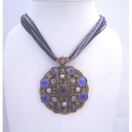 Multi String Enamel Pendant Colors of Blue & Purple Shades Necklace