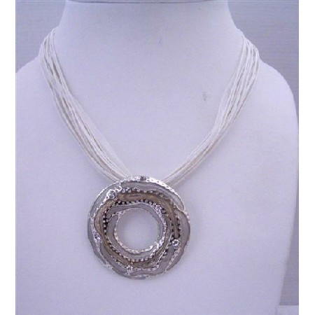 Affordable Necklace Ethnic Cool White Necklace w/ Round Pendant