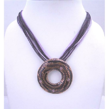 Multistranded Purple Amethyst Necklace w/ Round Pendant