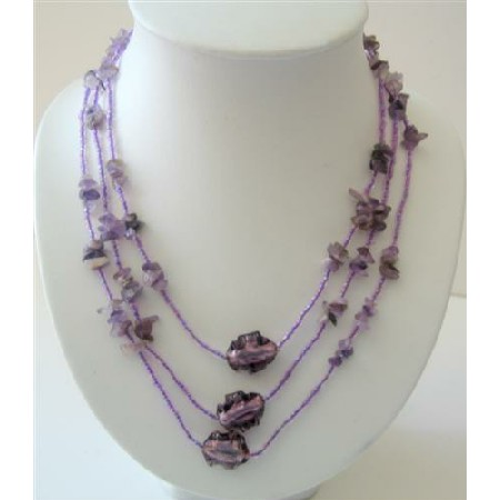 Long Purple Necklaces 60 Inches Beaded Amethyst Nugget Long Necklace
