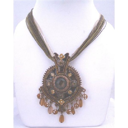 Brown Enamel Ethnic Multistranded Necklace Dangling Pendant Victorian