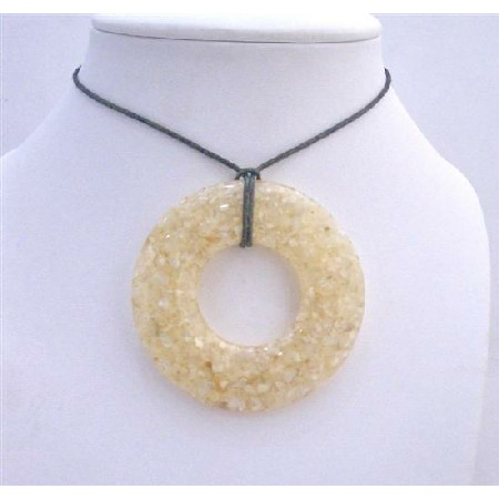 Natural Shell Cream Laminated Shell Pendant Black Chord Necklace
